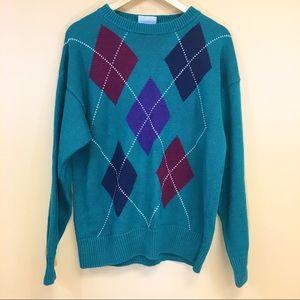 Vintage 80s 90s Green Argyle Sweater